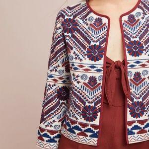 Anthropologie Embroidered Blazer/Jacket